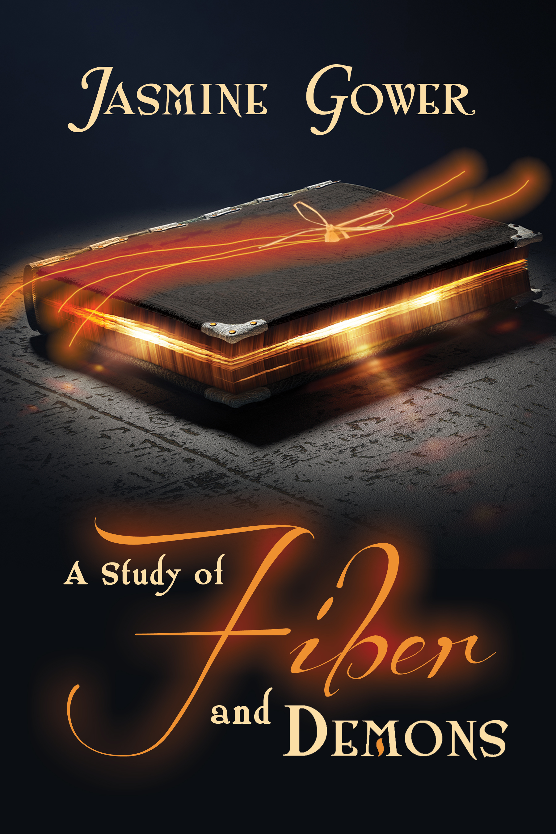 The cover of A STUDY OF FIBER AND DEMONS - a black book with orange light emitting from the pages and a glowing orange thread on top