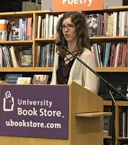 Jasmine Gower speaking at the University Bookstore in Seattle