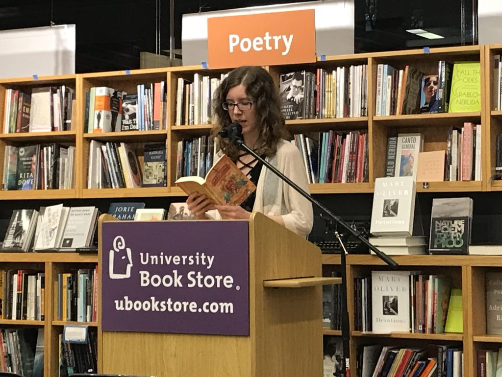 Jasmine Gower reading from MOONSHINE at the University Bookstore in Seattle