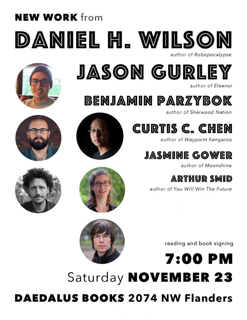 Flyer for book reading at Daedalus Books on November 23rd at 7:00 PM