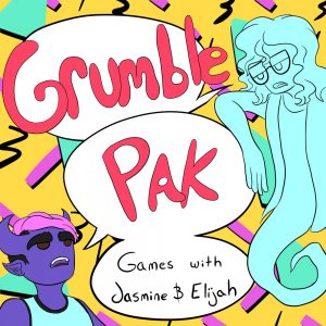 Grumble Pak logo; red text over bright 1990's style geometric patterns