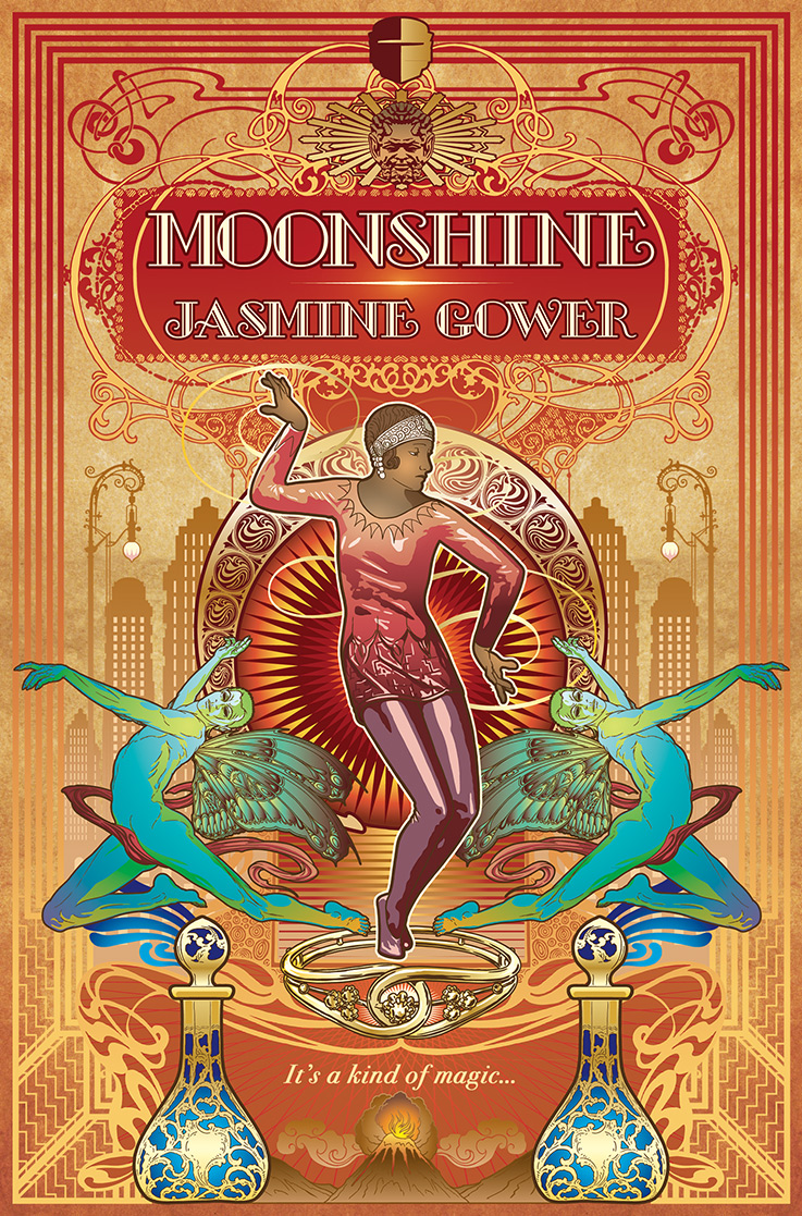 The cover of MOONSHINE - a young black woman in flapper clothes dancing between two blue fairies over the orange-toned backdrop of a city